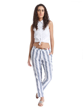White Striped Ankle Length Pants
