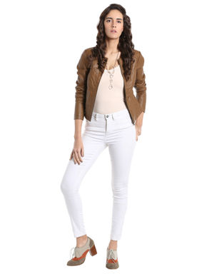 Brown PU Biker Jacket