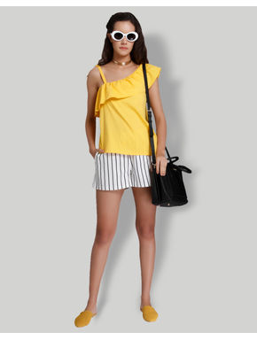 Yellow One Shoulder Frill Top