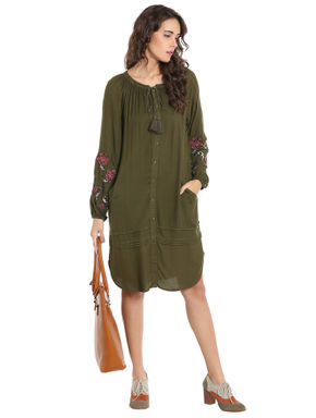 Olive Green Embroidered Long Top