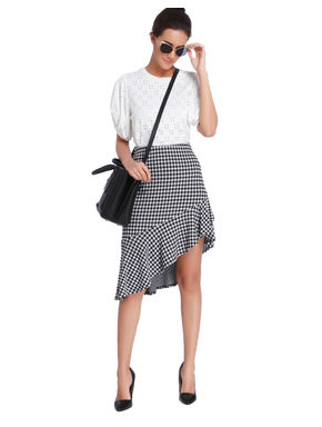 Black Gingham Asymetrical Skirt