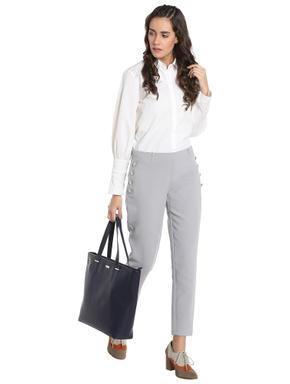 Grey Button Detail Ankle Length Slim Pants