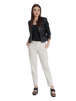 Beige Mid Rise Ankle Length Pants