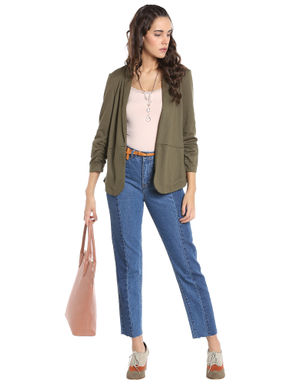 Green Ruched Sleeves Blazer