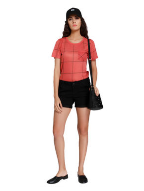 Red Grid Print T-Shirt