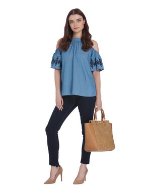 Denim Embroidered Cold Shoulder Top
