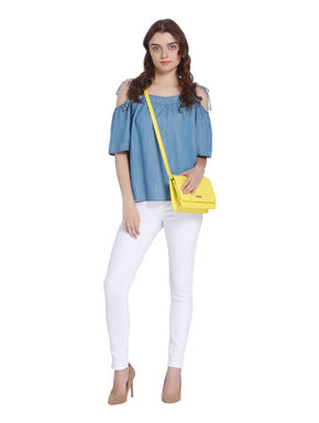 Light Blue Cold Shoulder Denim Top
