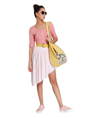 Pink Asymmetrical Pleated Skirt
