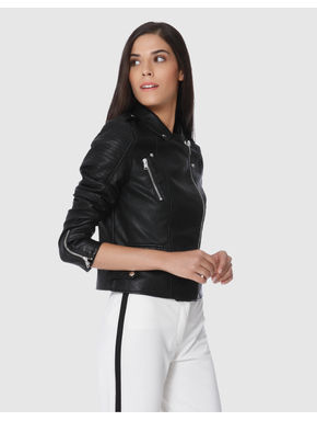 Black Faux Leather Cropped Jacket