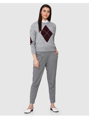Light Grey Printed Sweater