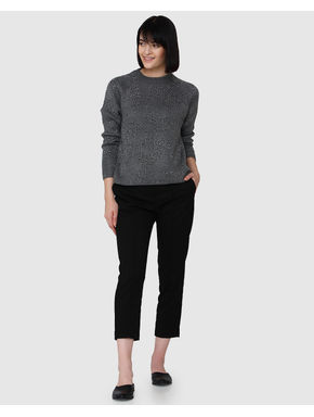 Grey Shimmer Flat Knit Top