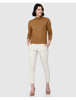 Brown High Neck Pearl Embellished Sweater