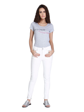 White Mid Rise Slim Fit Ankle Length Jeans