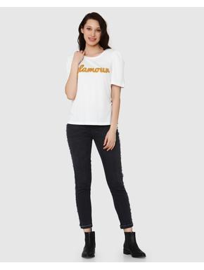 White GLAMOUR Textured Print T-Shirt