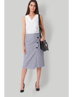 Black Plaid Wrap Midi Skirt