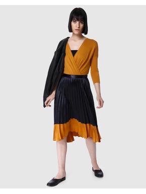 Mustard Wrap Style Bodysuit Top