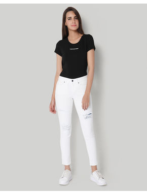 White Regular Waist Ripped Slim Jeans