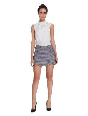 White Check Shorts