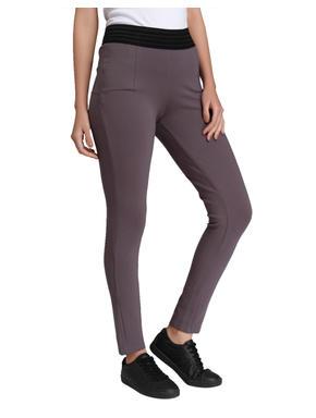 Grey Mid Rise Slim Fit Leggings