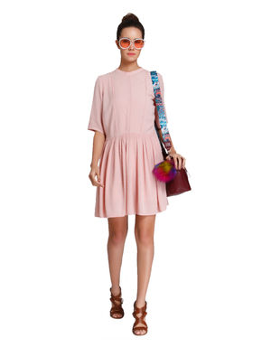 Pink Dobby Weave Mini Dress