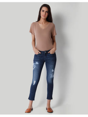Blue Embroidered Low Waist Ankle Length Slim Fit Jeans