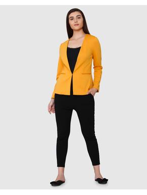 Yellow Collarless Blazer