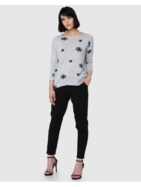 Light Grey Snow Print Knit Top