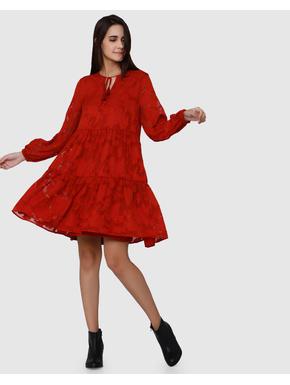 Red Floral Textured Print Swing Mini Dress