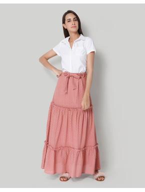 Peach Hakoba High Waist Maxi Skirt