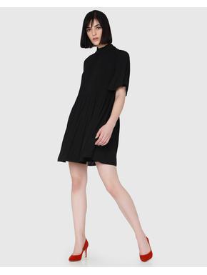 Black Lace Detail Flared Sleeves Swing Mini Dress
