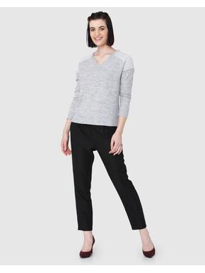 Light Grey Lace Mesh Detail V-Neck Top