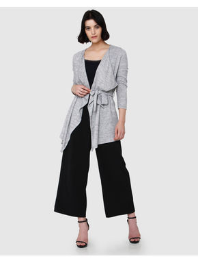 Grey Draped Long Cardigan