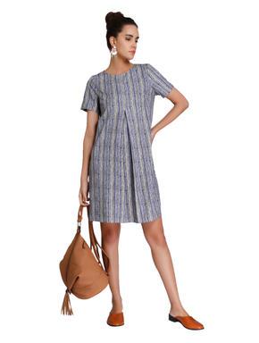 Grey Textured Striped Mini Dress