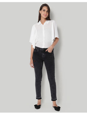 Black Regular Waist Ankle Length Slim Fit Jeans