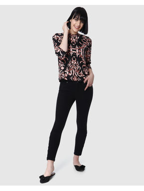 Black All Over Floral Printed Top