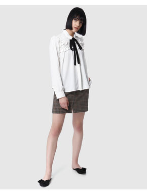 White Frill Detail Tie Neck Shirt