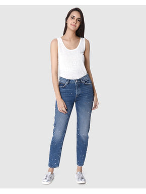 Blue Studded High-Rise Oversized Jeans
