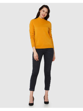 Yellow High Neck Lurex Sweater