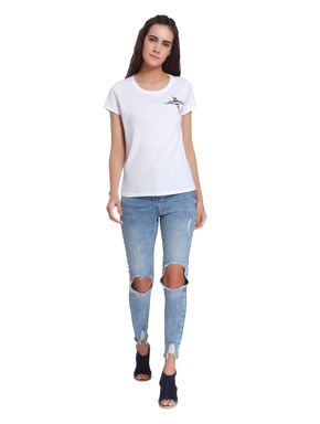 White Embroidered Bird Print T-Shirt