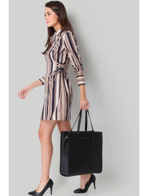 Brown Striped Tie Up Detail Shirt Dress