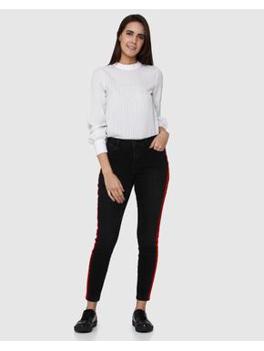 Black Tape Detail Mid Rise Slim Fit Jeans