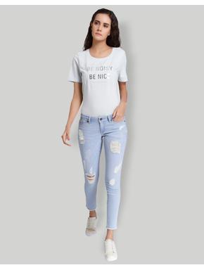 Blue Low Waist Slim Fit Jeans