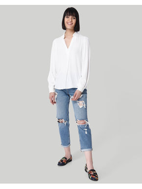 White V-Neck Top
