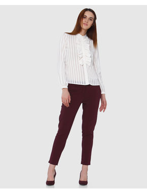 White Striped Ruffle Detail Shirt