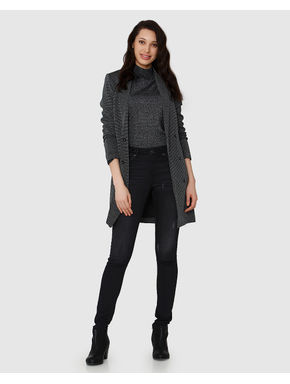 Black Glitter Banker Collar Coat