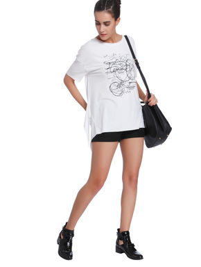 White Scribble Print Side Split T-Shirt