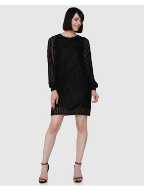 Black Textured Long Sleeves Short Dress