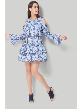 Blue Cold Shoulder Cut Work Fit & Flare Dress