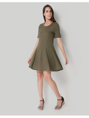 Olive Ribbed Skater Dress