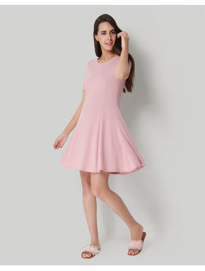 Pink Ribbed Skater Dress